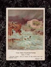 Houses Built on Sand & Rock 1906 Sunday School Card Bible Pictures Little Ones
