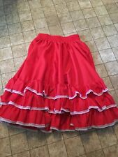 Lots Of Ruffles And Rows & Rows Of Lace Ladies Full Red Skirt Elastic Waist Euc