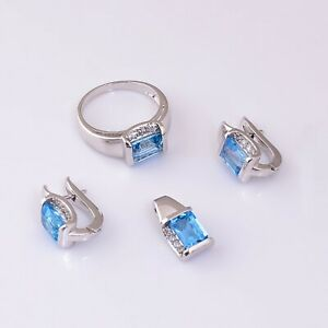 Natural Blue Topaz Octagon Stone 925 Sterling Silver Women Wedding Jewelry Set