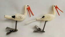 Antique German Glass Figural Stork Bird Christmas Tree Ornaments Clip On 2