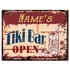 PP4268 NAME'S TiKi Bar Open Chic Sign  man cave Decor Birthday Gift