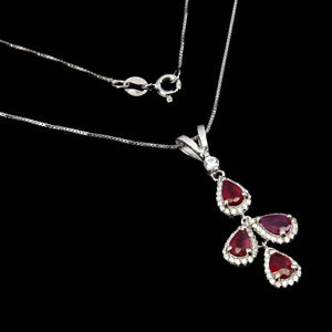 Pear Red Ruby 6x4mm Cz 14K White Gold Plate 925 Sterling Silver Necklace 18 Ins