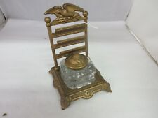 VINTAGE CAST ANTIQUE INKWELL PEN HOLDER WITH INSERT EXCELLENT COLLECTIBLE M-736