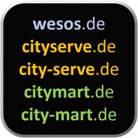 5 Domains: wesos.de / cityserve.de / city-serve.de / citymart.de / city-mart.de