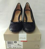 Clarks Grace Nina Womens Black Nubuck High Block Heel Pump Shoes 10M New In Box
