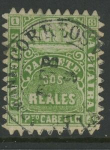 DANISH WEST INDIES, USED, #2 REALES, GREEN PAQUETE, SAN TOMAS, LA GUAIRA