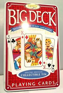 Fundex Big Deck Playing Cards in Collectible Tin - Includes x15 Games