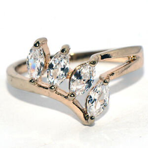 Vintage Womens Woman Ring Flower Leaf Rings Gold Filled Jewelry Crystal Size 7