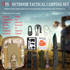 15 in 1 Camping Survival Gear Kits EDC Tactical Hunting Tools Molle Pouch Bag