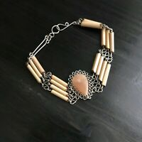 Carved Agate & Wood Tube Bracelet Artist Made Looped Wire