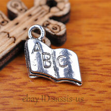 100 pcs 12mm Charms ABC Book Pendant Tibet Silver DIY Jewelry Making Charm A7314