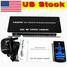 5.1CH Extractor 3D Audio IR Remote Selector HDMI Switcher 5 Port 4K x 2K 1080P