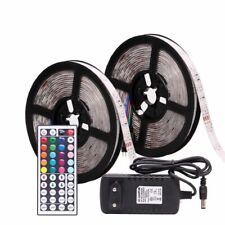 LED Strip Waterproof Fita Lights 12V Flexible Tape W/ Controller and Adapter New