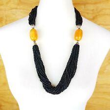 Tibetan Fashion Gypsy Tribal Amber Resin Black Seed Beads Runway Necklace