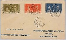 SEYCHELLES -  POSTAL HISTORY - SG 132/4 FDC COVER - Royalty CORONATION 1937 #2
