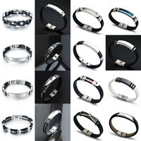 Men's Stainless Steel Magnetic Clasp Braided Bracelet Wristband Bangle Jewelry