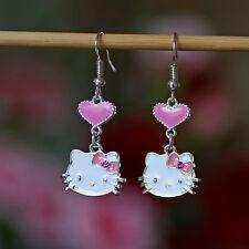 Cute Enamel Hello Kitty Heart Dangle Drop Earrings