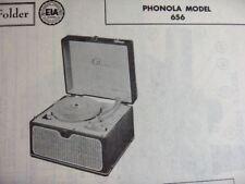 PHONOLA 656 PHONOGRAPH PHOTOFACT