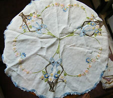 Handmade Embroidered Doily Multi Blue Crochet Trim Flower Basket 20 Inch NICE