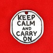 "1 x Plata Tibetana 'Keep Calm and Carry On ""Placa Encanto Colgante Abalorios hacer"