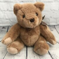 "Mervyns Playful Pals Brown Plush Teddy Bear Bow Stuffed Animal 15"" Jointed"