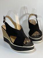 Jenny Fairy Woman's Sandals Black Suedette Wedges Platform Shoes Size 6 UK / 39