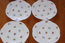 "Set of 4 SHELLEY Salad/Dessert 8"" Plates Rose Pansy Forget-Me-Not Bone China"
