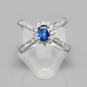 6x4mm Natural Royal Blue Kyanite Ring With White Topaz in 925 Silver #30732