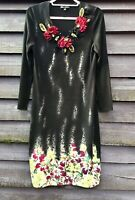 Philippe Carat Couture Paris Black Beads/Floral Stretch Jersey Dress XL UK14-16