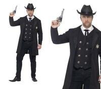Adult Plus Size Sheriff Costume Mens Wild Western Curves Fancy Dress L-XXL