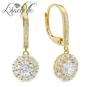 3.5 ct Brilliant Round Halo Drop Dangle Leverback Earrings Solid 14k Yellow Gold