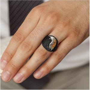 SOLID 925 STERLING SILVER JEWELRY NANO BLACK ZIRCON EAGLE DESIGN MENS RING