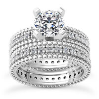 Eternity Solitaire 2.35 Carat Round Diamond H/VS2 Engagement Ring 14K White Gold