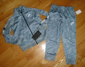 Nike Boys Track Suit Athletic Pants Warm Up Jacket Gray Heather 4 4T NWT