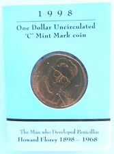 1998 Australia, Howard Florey Penicillin, $1 UNC 'C' Canberra Mintmark Coin