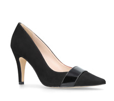 "Nine West Friar Womens UK 6 Black Faux Suede 3.5"" Stiletto Pointed Court Shoes"