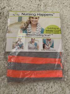 New Itzy Ritzy Nursing Happens Infinity Breastfeeding Scarf Orange/Gray Stripe