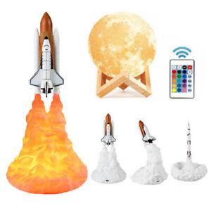 3D Rocket Mondlicht Print Space Shuttle USB Nachtlampe Room Wohnkultur Geschenk