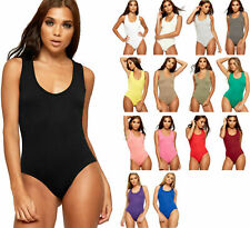 Womens s Racer Back Leotard Ladies Stretch Sleeveles Bodysuit Vest Top New  8-24