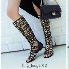 Gladiator Womens Rivet Studs Low Heel Black Leather Knee High Boot Roman Sandals