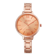 Ladies Fashion Geneva Rose Gold Platinum Quartz Gold Linked Band Wrist Watch.