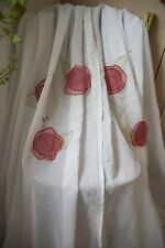 OFF WHITE SINGLE VOILE CURTAIN,IKEA,48WX88D,SHEER,RED ROSES EMBROIDERED,SLOT TOP