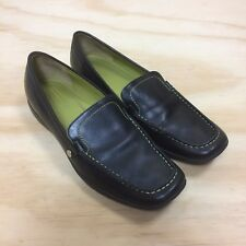 Coach Daisy Black Leather Green Top Stitching Slip On Moc Toe Loafers Womens 8N