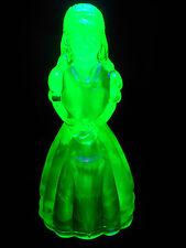 Green Vaseline glass Doll Figurine uranium yellow girl figure princess art dress