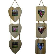 Wooden Triple Photo Frame Heart Bundle. 4x4 & 4x6. Set of 2 (1 of each size)