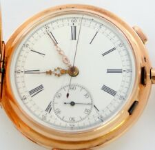 Tempora Swiss Quarter Repeating Large Pocket Chronograph, Solid 14K Pink Gold