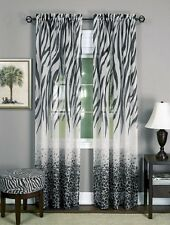 "safari animal window curtain panel - zebra leopard 84"" L black / white - Kenya"