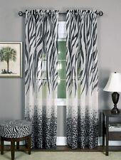 "safari animal window curtain panel - zebra leopard 84"" L black / white - Kenya"
