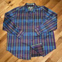 Robert Graham Mens Classic Fit Shirt Button Up Long Sleeve Flip Cuffs 2XL