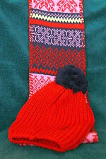 AVON Fair Isle Cold Weather Set Pom Pom Hat & Infinity Scarf - Multi Color